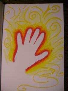 A powerful hand glows.