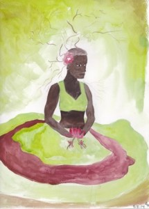 A dark skinned lady sat holding a honeysuckle flower, with skirts covering her legs. Clothed in greens and deep red.