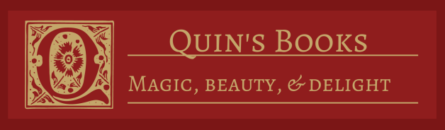 A red banner with cream text: Quin's Books - magic, beauty & delight